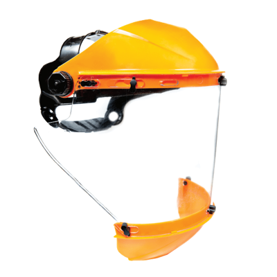 Protector Facial Cilindrico Con Cubre Menton  -  Visor Transparente Hc.