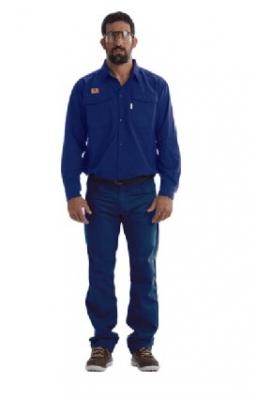 Camisa Ignifuga S/ Bandas Reflectivas – 88% Alg. Retar./ 12% Poliamda -  Azul Marino - 6.80 Oz/ Yd2 - Modelo Unisafe - Marca Geo Tex - Talle 38