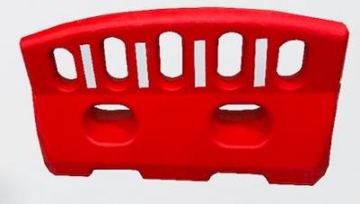 Canalizador Tipo Valla Peatonal De 1 Mt De Largo X 60 Cm De Alto X 24 Cm  De Ancho - Color Blanco/rojo - Capacidad 60 Lts.