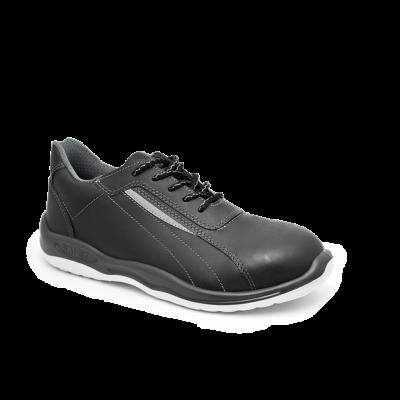 Zapatilla De Seguridad  Ultraliviana- Puntera De Aluminio - Cuero Vaqueta - Negra - Suela Pu Bidensidad - T/35