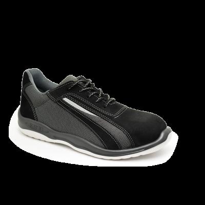 Zapatilla De Seguridad  Ultraliviana - Puntera De Aluminio - Cuero Descarne - Negro /textil - Suela Pu Bidensidad - T/35