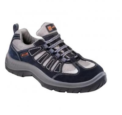 Zapato Frances – Puntera De Acero – Cuero Gamuzado Textil – Suela Pu  Bidensidad -  Color Azul - T/35 Al 48
