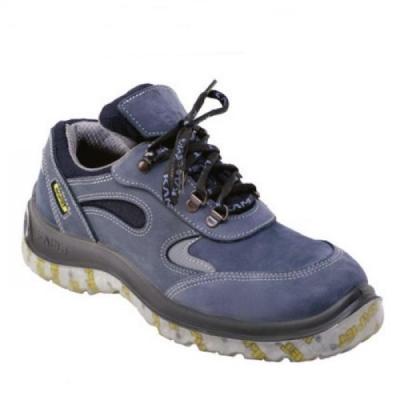 Zapato Frances – Puntera De Acero - Cuero Nobuck Azul – Suela Leon   Traslucidad Bidensidad - Color Azul - . T/35.
