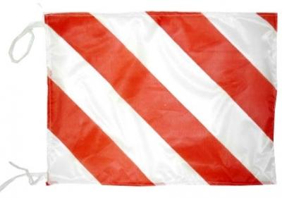 Bandera De Tela Cebrada  Roja Y Blanca – Transporte De Carga 70 X 50 Cm. Art. 02057