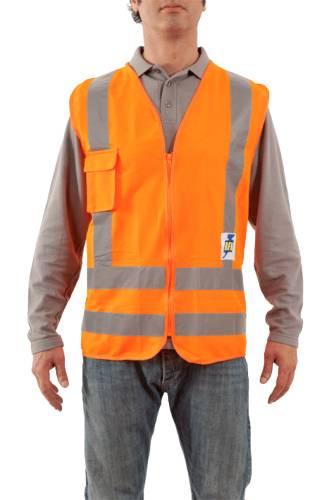 Chaleco Poliester - Color Naranja - Con Cierre - Clase Ii. Incluye Bolsillo Para Celular – Talle Unico.