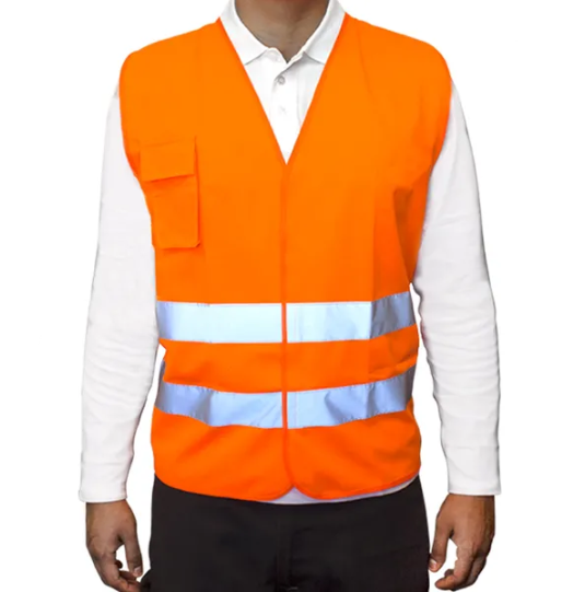 Chaleco Poliester - Color Naranja - Con Velcro – Talle Unico. Origen: Importado.