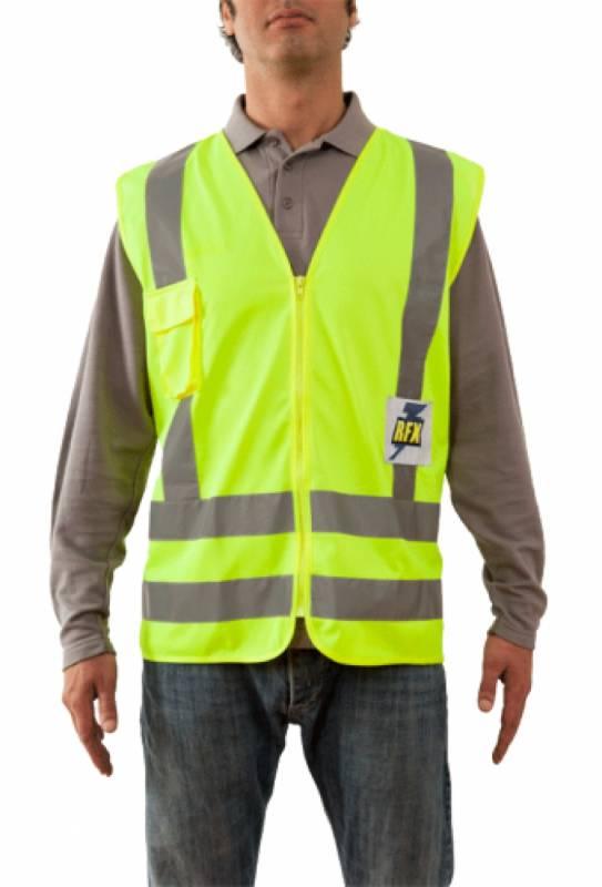 Chaleco Poliester - Color Amarillo - Con Cierre - Clase Ii. Incluye Bolsillo Para Celular – Talle Unico. - Marca Rfx.