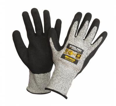 Guante Multiflex Tejido S/ Costura Recubierto Completo En Nitrilo Negro - Tejido Anticorte - Modelo Nitrilo Cut 5 - Talle 7 – Marca Steelpro.
