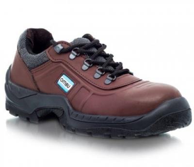 Zapato De Seguridad T/ Frances - P/acero  - Suela Poliuretano Bidensidad   Cuero Flor -  Marron -  Modelo Ozono -  T/38. - Marca Ombu