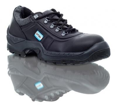Zapato De Seguridad T/ Frances - P/acero  - Suela Poliuretano Bidensidad   Cuero Flor -  Negro -  Modelo Ozono - T/37. - Marca Ombu