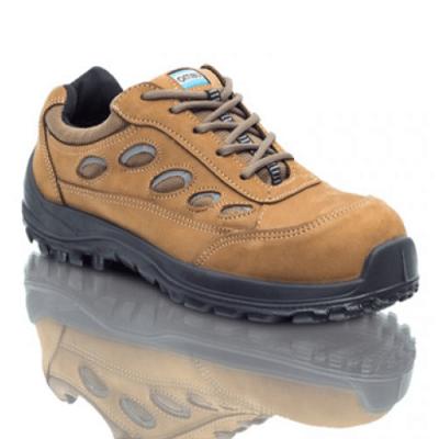 Zapatilla De Seguridad - P/composite  - Suela Poliuretano Bidensidad   Cuero Nobuk/gamuzado - Marron - Modelo Mica -  T/41. - Marca Ombu