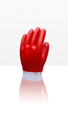 Guante Pvc Rojo - PuÑo Tejido Elastizado, BaÑo Completo. 25 Cm De Largo - T/10
