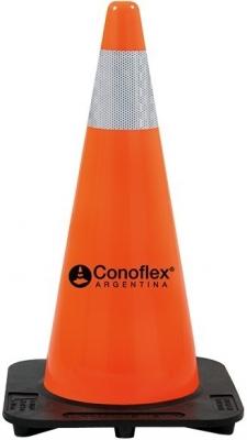 Cono Naranja  De Pvc Flexible Con Memoria  – 75 Cm De Altura  Peso 4,5 Kg. - Una Sola Pieza. – 3 Banda Reflectiva De 5 Mm De Ancho.  Modelo Minero - CÓd. 1176/3