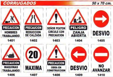 Cartel De Pvc Corrugado - Medida  50 X 70 Cm - Varios Modelos.