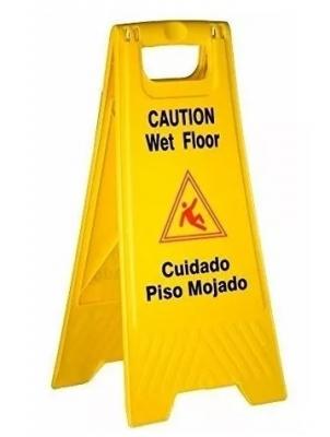 Carpa Amarilla Piso Mojado – Medidas 62 De Alto X 30 Cm. En La Base  Con Manija (plÁstico). - Art. 02927