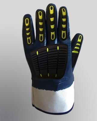 Guante Nitrilo Azul Con Anti Impacto En Dorso - Costuras Selladas Art. N1001im - T/10 - Marca Gamisol.